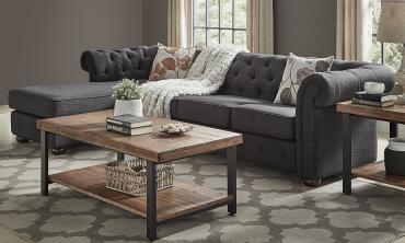 Tufted Scroll Arm Chesterfield L-Shape Sectional Sofa