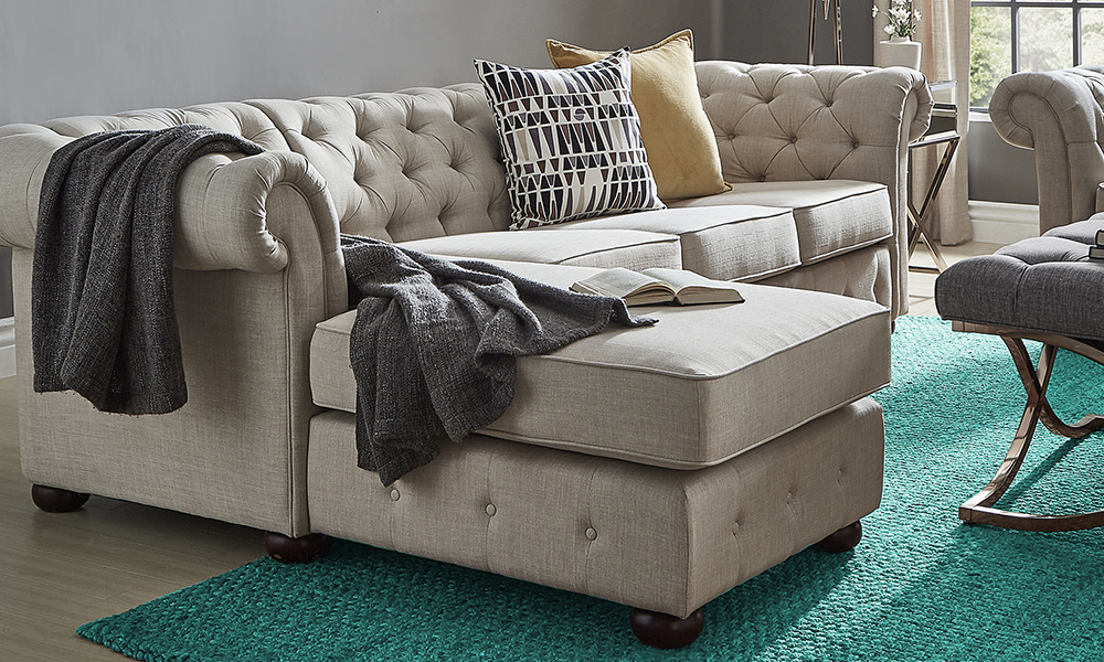 Tufted Scroll Arm Chesterfield L Shape Sectional Sofa From Aed 3499 A To Z Furniture