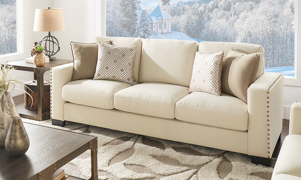 Linen Nailhead Track Arm Sofa From Aed