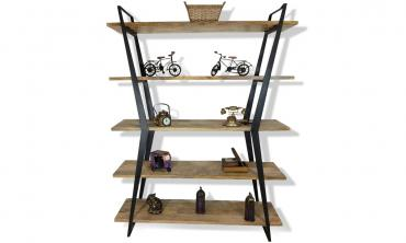 Solid Wood 5-shelf Bookcase with Open Storage