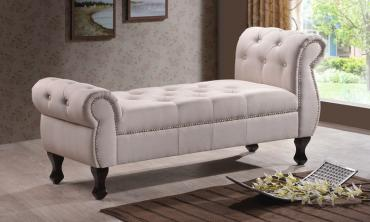 Tufted Rolled-Arm Classic Bench
