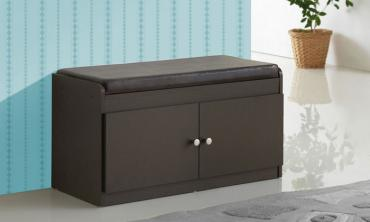 Two-Door Shoe Storage Cabinet with Seating Bench