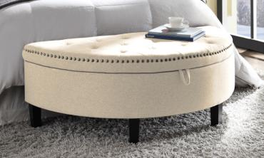 Button-Tufted Half-Moon Storage Ottoman