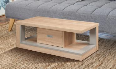 Weathered Sand Open Shelf Coffee Table