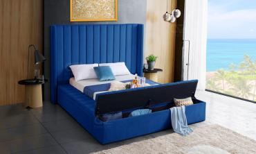 Hugo Velvet Upholsterd Bed with Channel Tufting and Footboard Storage ...
