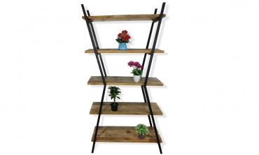 Mango Wood and Black Metal 5-shelf Etagere Bookcase with Open Back