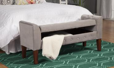 Velvet Fabric Upholstered Storage Bench