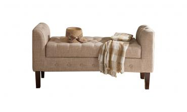 Light Brown Upholstered Storage Bench