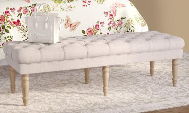 Grey Linen  62-inch Tufted Bench