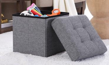 Tufted Linen Storage Ottoman Foot Rest Stool/Seat