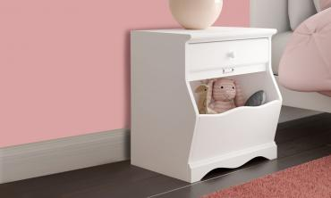 Elegant White 1 Drawer Nightstand