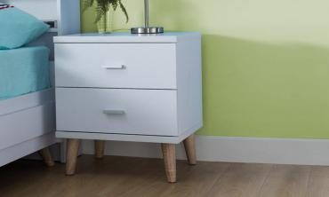 White Wood 2 Drawer Nightstand