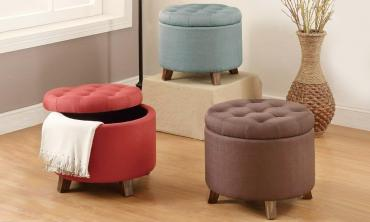 Storage Ottoman Upholstered in Fabric with Accent Tufting