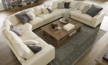 Lionel White Cotton Fabric Down-Filled U-Shaped Sectional