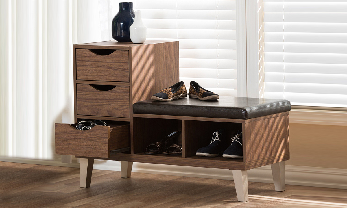 Modern Shoe Storage Cabinet With Bench From AED 819. PrevNext
