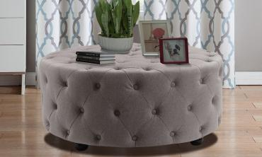 Tufted Linen Round Ottoman/Entryway Bench
