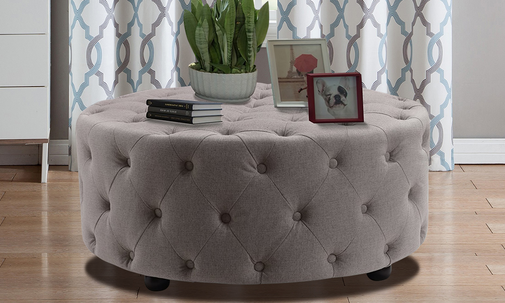 finest selection bc4af ded5f Tufted Linen Round Ottoman/Entryway Bench from AED 1299 | A ...