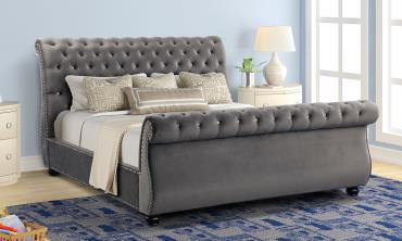 Curve Rolled Top-Tufted Upholstered Bed
