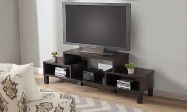 Geometric Design TV Stand-Black Oak