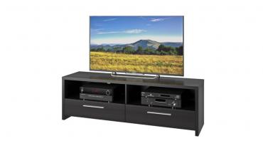 Black Wood 2-Shelf 2-Drawer TV stand