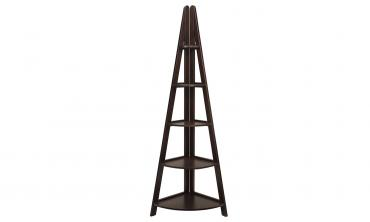 Home Decor Espresso Wood Corner Ladder Bookcase