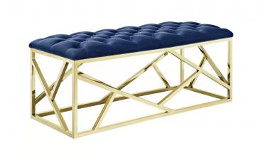 Gold Button Tufted Bench