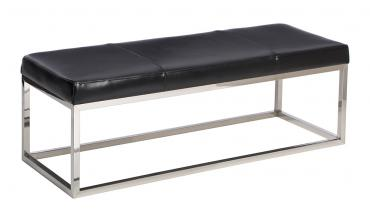 Black and Stainless Steel Modern Leather Bench