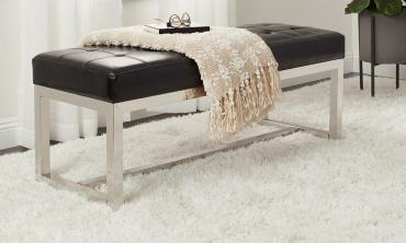Luxurious Black Leather Bench