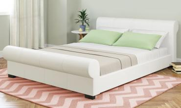 Scrolled Leatherette Platform Bed