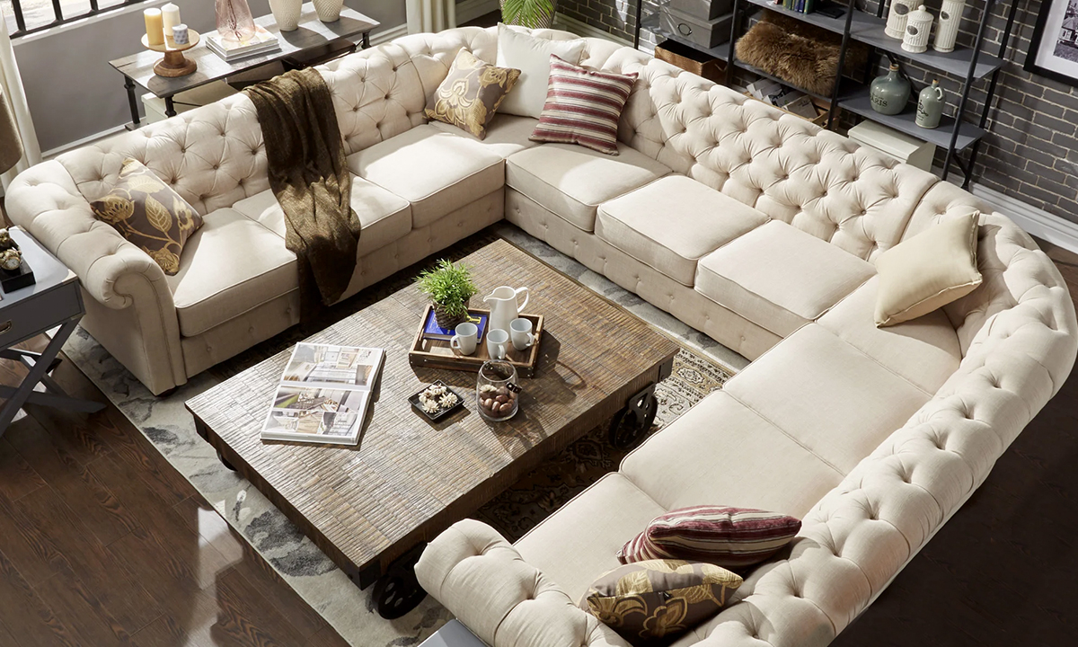 Tufted Scroll Arm Chesterfield 11 Seat U Shaped Sectional